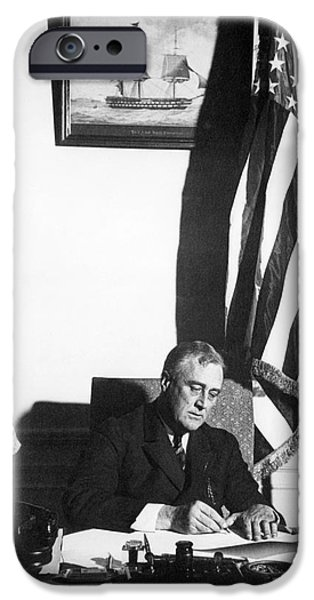 Franklin Roosevelt iPhone Cases - Franklin D. Roosevelt, 32nd American iPhone Case by Omikron