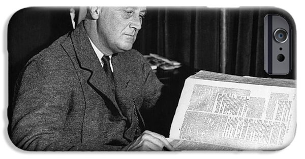 Franklin Roosevelt iPhone Cases - Franklin D. Roosevelt, 32nd American iPhone Case by Photo Researchers