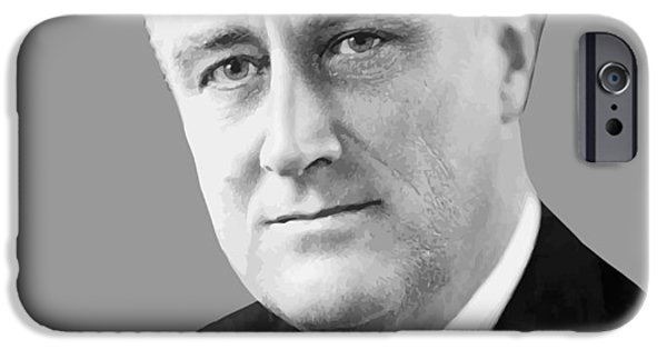 White House Digital Art iPhone Cases - Franklin Delano Roosevelt iPhone Case by War Is Hell Store