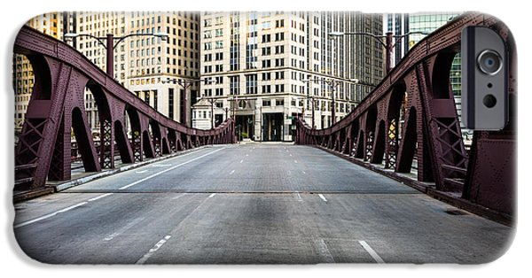 Downtown Franklin iPhone Cases - Franklin Orleans Street Bridge Chicago Loop iPhone Case by Paul Velgos