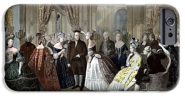 Royalty iPhone Cases - Franklins Reception At The Court Of France iPhone Case by War Is Hell Store