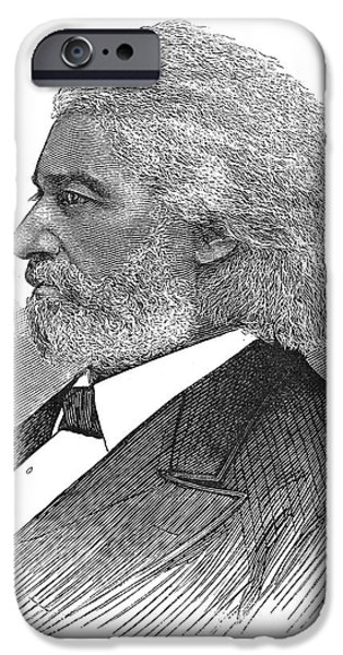 FREDERICK DOUGLASS (c1817-1895). American abolitionist. Wood engraving, American, 1877 iPhone Case by Granger