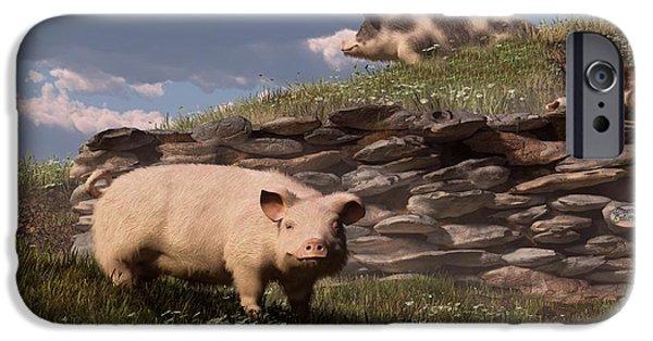 Barnyard Digital Art iPhone Cases - Free Range Pigs iPhone Case by Daniel Eskridge