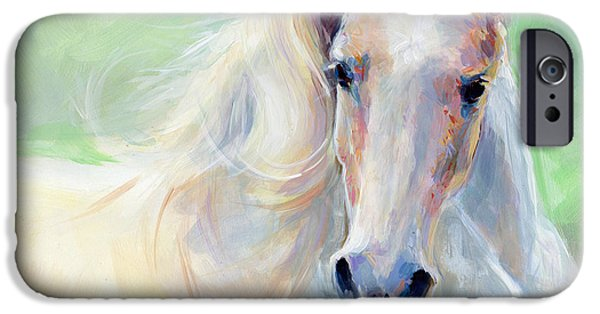 White Horses iPhone Cases - Freedom iPhone Case by Kimberly Santini