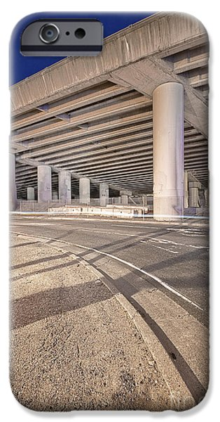 Asphalt iPhone Cases - Freeway Overpass Support Structure at Night iPhone Case by Eddy Joaquim