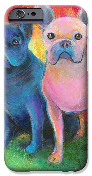 Giclee Mixed Media iPhone Cases - French Bulldog dogs white and black painting iPhone Case by Svetlana Novikova