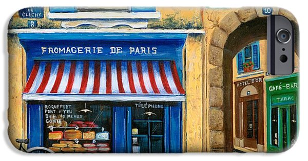 Street Paintings iPhone Cases - French Cheese Shop iPhone Case by Marilyn Dunlap
