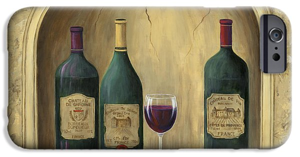 Glass Of Wine Paintings iPhone Cases - French Estate Wine Collection iPhone Case by Marilyn Dunlap
