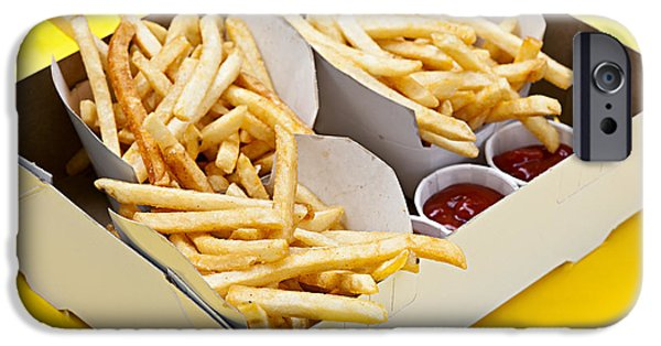 Chip Photographs iPhone Cases - French fries in box iPhone Case by Elena Elisseeva