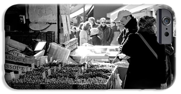 Stores iPhone Cases - French Street Market iPhone Case by Sebastian Musial