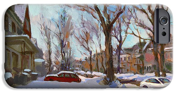 Snowscape Paintings iPhone Cases - Fresh Snow iPhone Case by Ylli Haruni