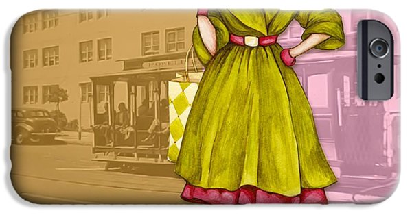 Mixed Media iPhone Cases - Frisco in the Fifties Shopping at I Magnin iPhone Case by Cindy Garber Iverson