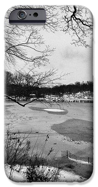 Frozen Central Park at Dusk iPhone Case by John Farnan