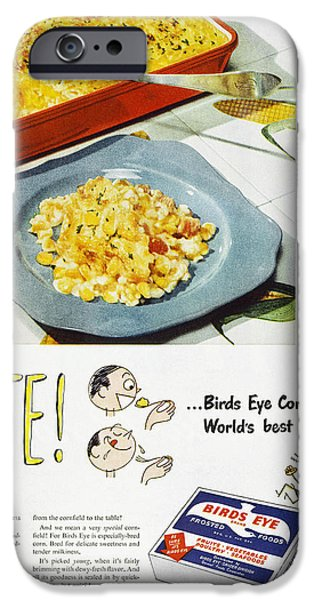 Birdseye iPhone Cases - Frozen Food Ad, 1947 iPhone Case by Granger