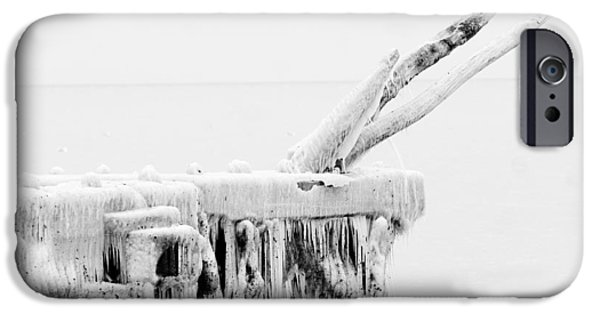 Abstract Forms iPhone Cases - Frozen pier at Lake Erie iPhone Case by Emanuel Tanjala
