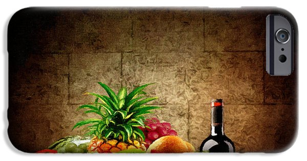Wine Bottle iPhone Cases - Fruit and Wine iPhone Case by Lourry Legarde