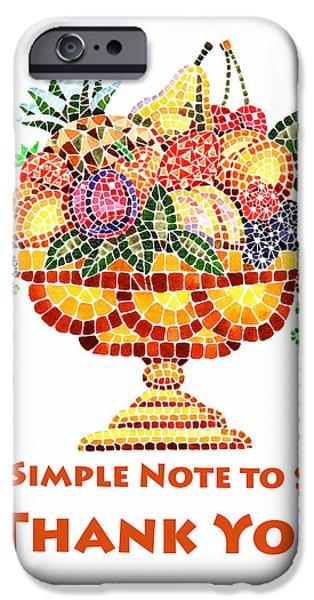 Strawberry Art iPhone Cases - Fruit Mosaic Thank You Note iPhone Case by Irina Sztukowski