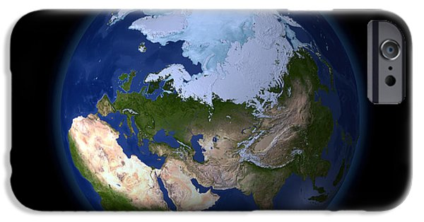 Terrestrial Sphere iPhone Cases - Full Earth Showing The Arctic Region iPhone Case by Stocktrek Images