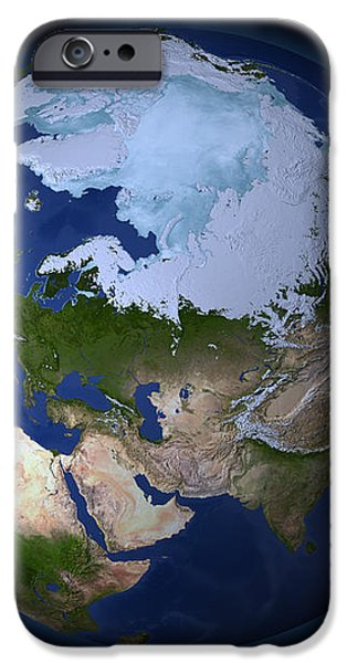 Full Earth Showing The Arctic Region iPhone Case by Stocktrek Images