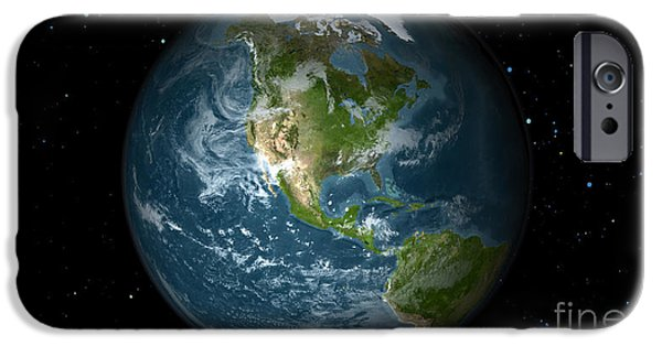 Terrestrial Sphere iPhone Cases - Full Earth View Showing North America iPhone Case by Stocktrek Images
