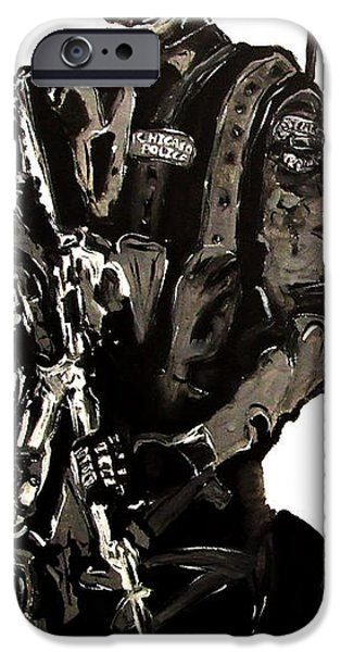 President iPhone Cases - Full Length Figure Portrait of SWAT team leader Alpha Chicago Police in full uniform with war gun iPhone Case by M Zimmerman MendyZ