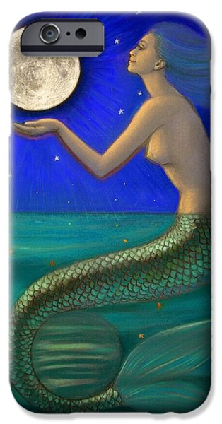 Moon Pastels iPhone Cases - Full Moon Mermaid iPhone Case by Sue Halstenberg