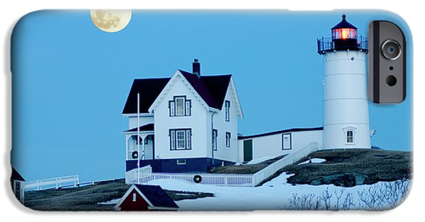 Nubble Lighthouse iPhone Cases - Full Moon Nubble iPhone Case by Greg Fortier