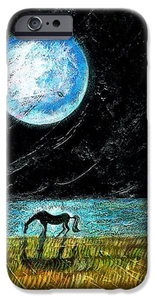 Sea Moon Full Moon Paintings iPhone Cases - Full Moon on the Seashore iPhone Case by Ion vincent DAnu