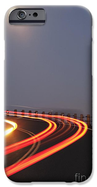 Asphalt iPhone Cases - Full Moon Over a Curving Road iPhone Case by Jetta Productions, Inc