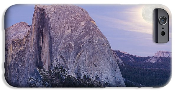 Pines iPhone Cases - Full Moon over Half Dome iPhone Case by Jim and Emily Bush