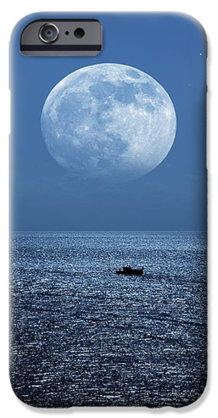 Full Moon Rising Over The Sea iPhone Case by Detlev Van Ravenswaay