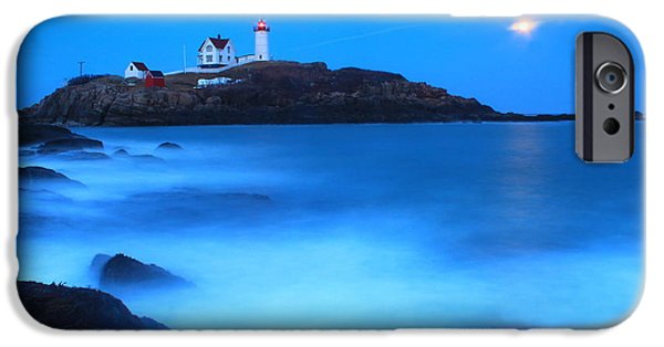 Nubble Lighthouse iPhone Cases - Full Moon Surf Cape Neddick Nubble Lighthouse iPhone Case by John Burk