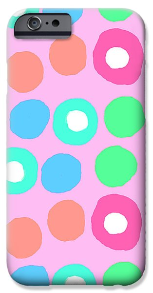Fun Digital Art iPhone Cases - Fun Spots iPhone Case by Louisa Knight