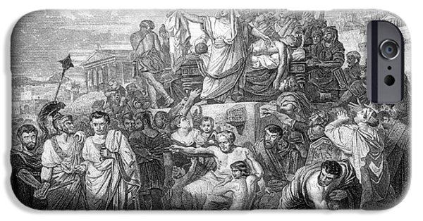 Julius Caesar iPhone Cases - Funeral Of Julius Caesar, 44 Bc iPhone Case by Photo Researchers