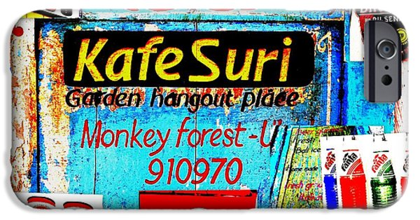 Abstract Digital Photographs iPhone Cases - Funky Kafe Suri in Bali iPhone Case by Funkpix Photo Hunter