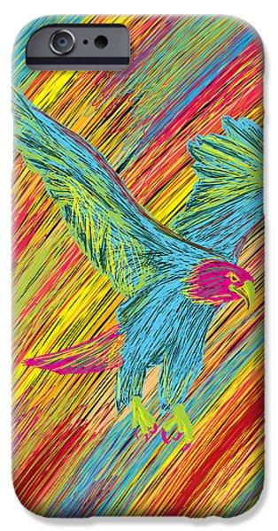 Kenal Louis iPhone Cases - Furious Bold Bald Eagle iPhone Case by Kenal Louis
