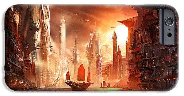 Concept Digital Art iPhone Cases - Future Harbor iPhone Case by Alex Ruiz