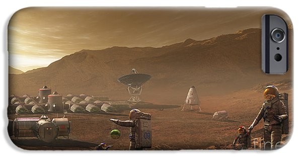Bonding Digital Art iPhone Cases - Future Mars Colonists Playing iPhone Case by Steven Hobbs