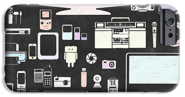 Multimedia iPhone Cases - Gadgets Icon iPhone Case by Setsiri Silapasuwanchai