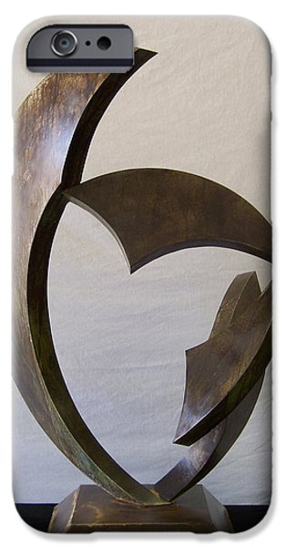 Abstract Movement Sculptures iPhone Cases - Gaea iPhone Case by John Neumann