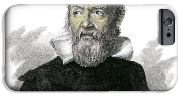 World System iPhone Cases - Galileo Galilei, Italian Astronomer iPhone Case by Detlev Van Ravenswaay
