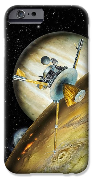Space-craft iPhone Cases - Galileo Spacecraft with Io and Jupiter iPhone Case by David A Hardy and Photo Researchers