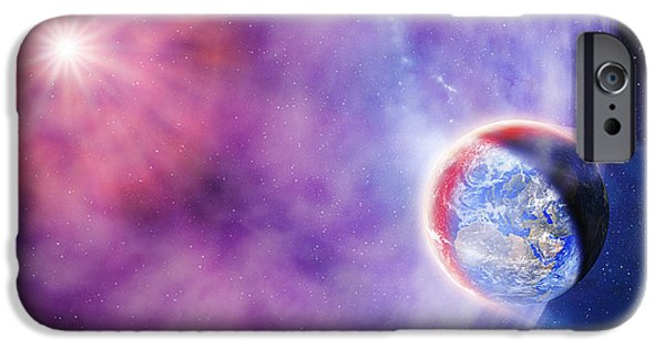 Gamma Ray Burst iPhone Cases - Gamma Ray Burst Hits Earth iPhone Case by Detlev Van Ravenswaay