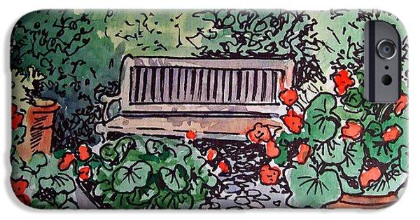 Bench iPhone Cases - Garden Bench Sketchbook Project Down My Street iPhone Case by Irina Sztukowski