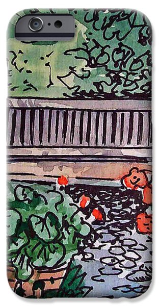 Garden Bench Sketchbook Project Down My Street iPhone Case by Irina Sztukowski