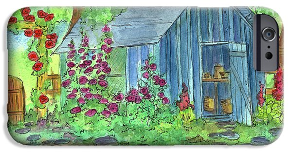 Shed Drawings iPhone Cases - Garden Potting Shed iPhone Case by Cathie Richardson