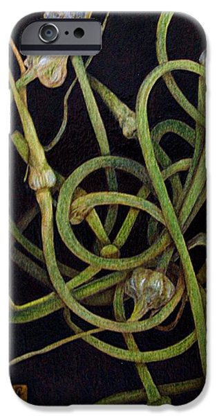 Water Colors Pyrography iPhone Cases - Garlic Heads iPhone Case by Cynthia Adams