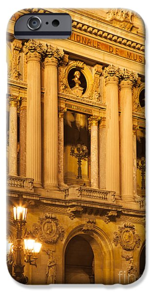 Night Lamp iPhone Cases - Garnier Opera House iPhone Case by Brian Jannsen