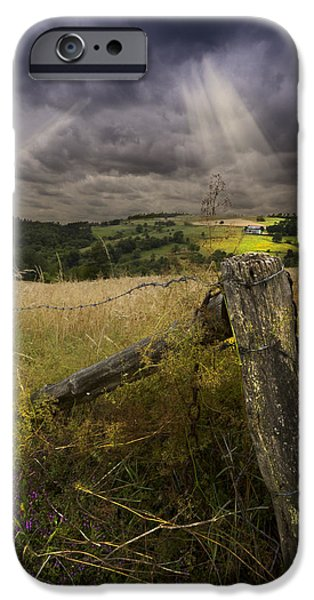 Old Fence Posts iPhone Cases - Gate to Heaven iPhone Case by Debra and Dave Vanderlaan