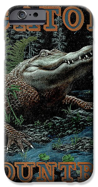 Amphibian iPhone Cases - Gator Country iPhone Case by JQ Licensing